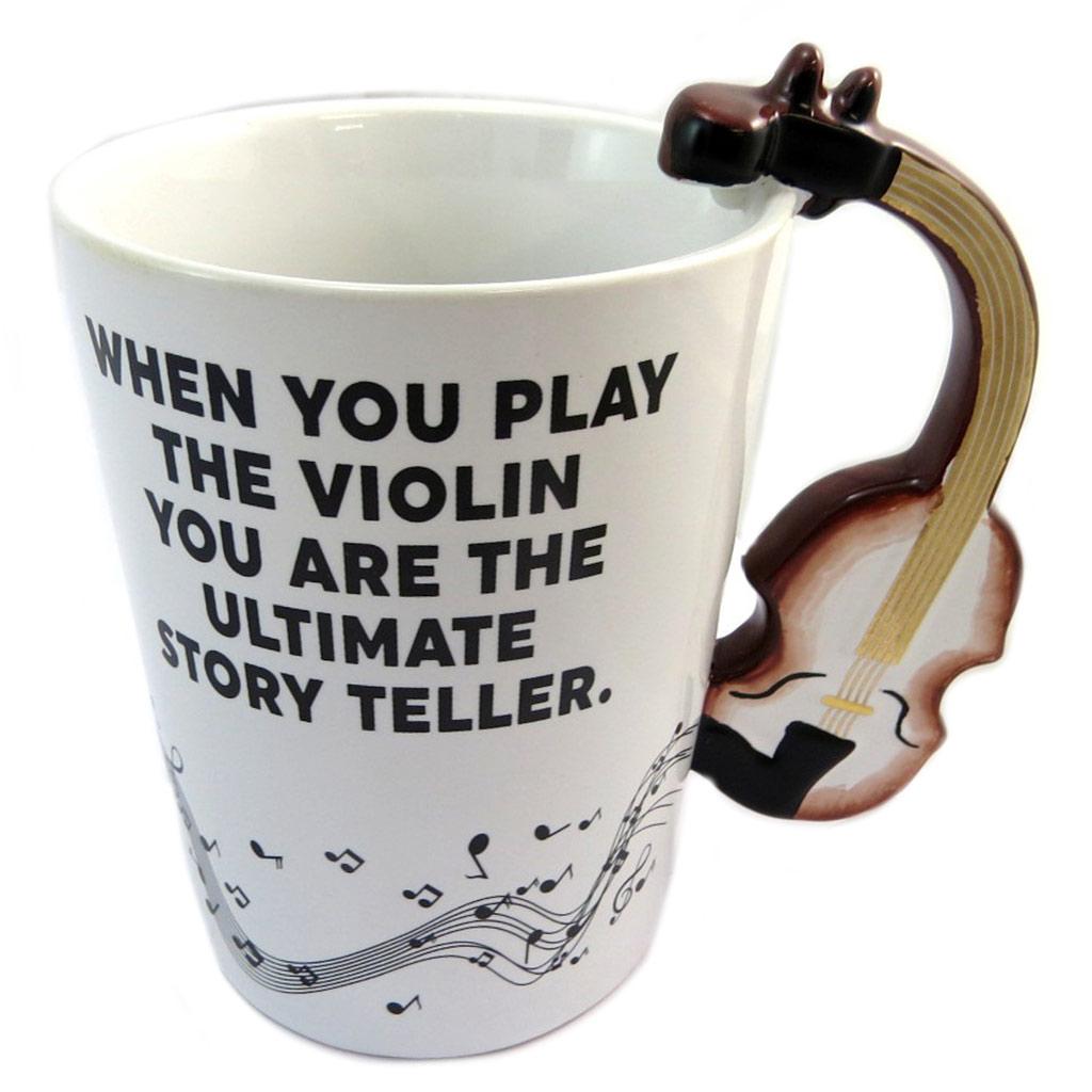 Mug céramique \'Musicology\' blanc marron (Violon) - 135x125 cm - [P4176]