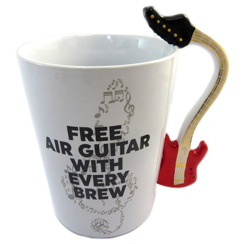 Mug céramique \'Musicology\' blanc rouge doré (Guitare) - 135x125 cm - [P4178]
