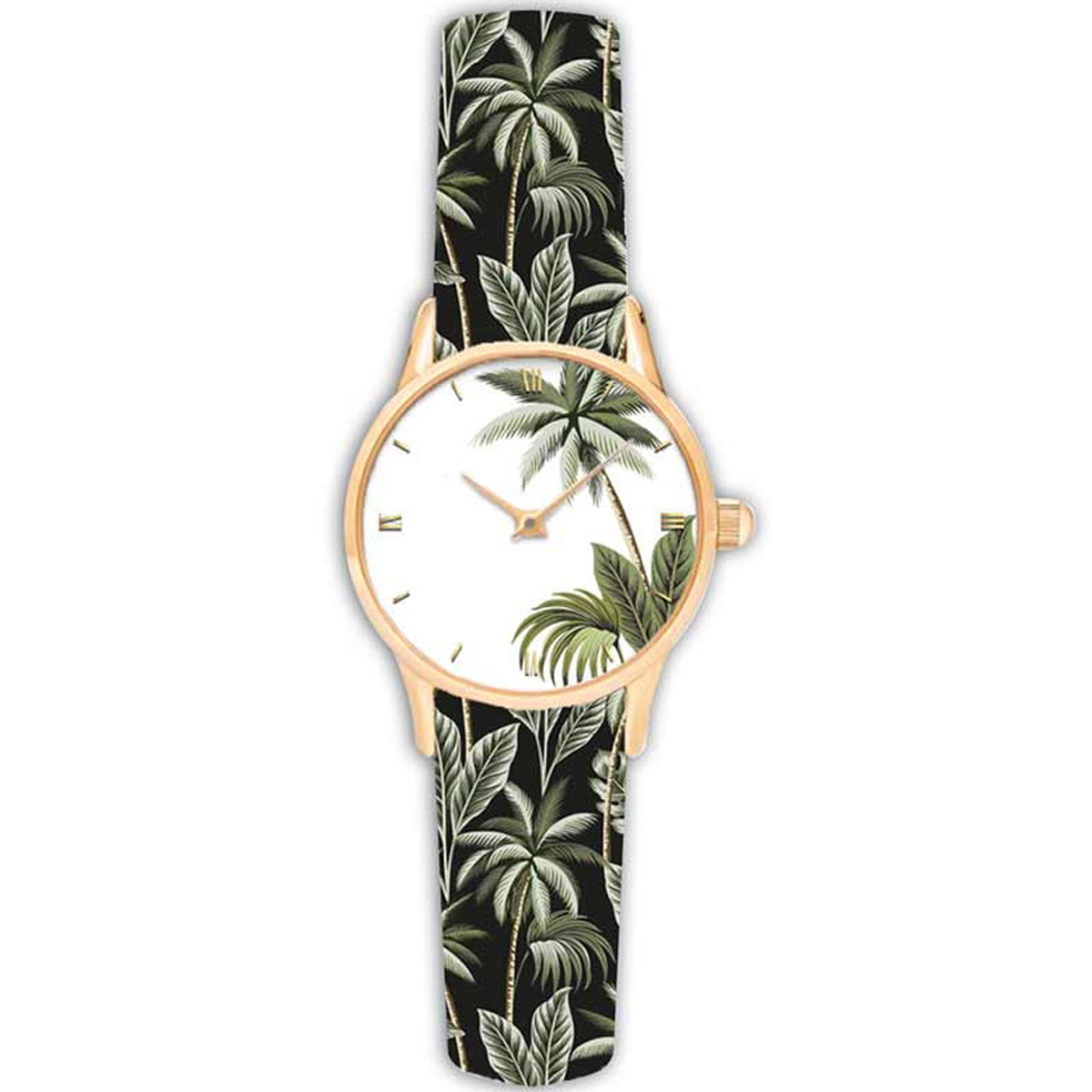 Montre créateur \'Jungle\' vert blanc - 38 cm - [Q9010]