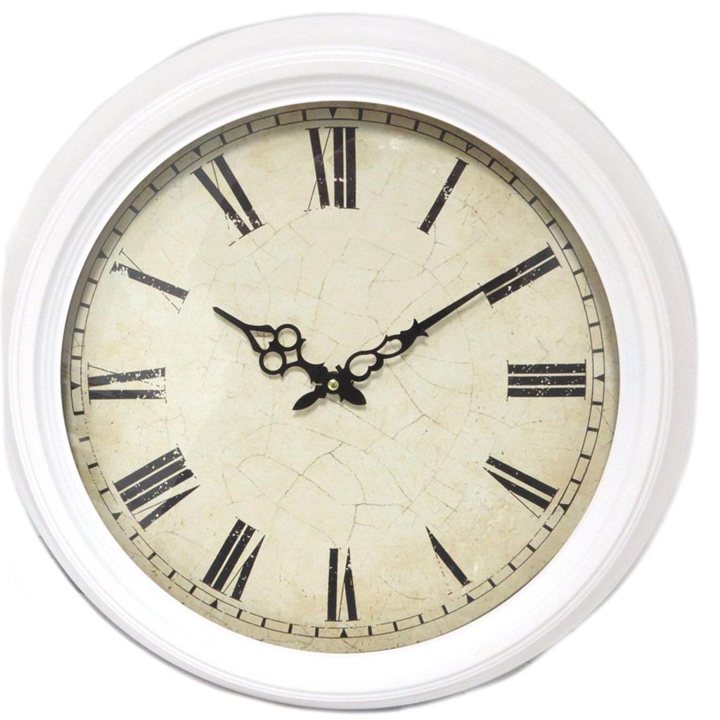 Horloge métal \'Vintage Design\' crème - 47x6 cm - [P4197]