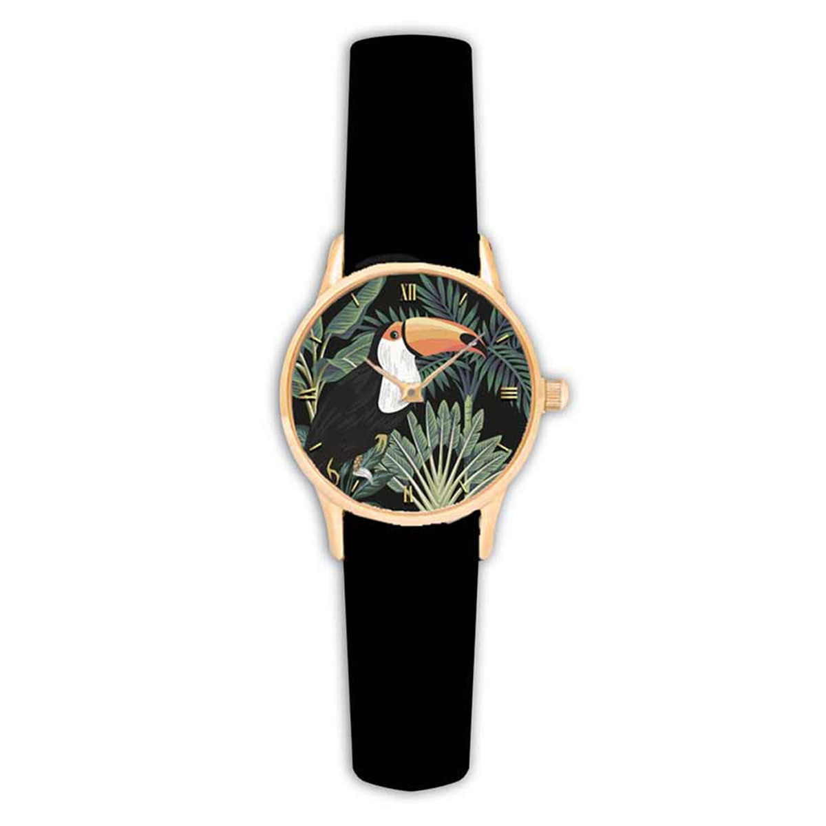 Montre créateur \'Jungle\' noir vert (toucan) - 38 cm - [Q9016]