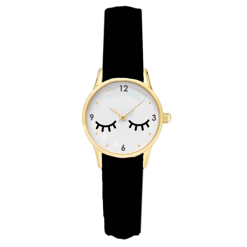 Montre créateur \'Diva - Yeux Endormis\' noir blanc doré (cils) - 38 cm - [Q9017]