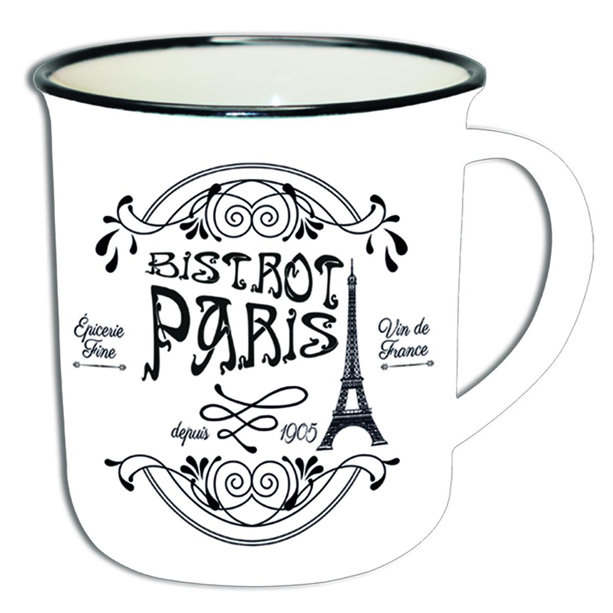 Mug céramique \'Paris Bistrot\' blanc noir - 90x85 mm - [Q9024]