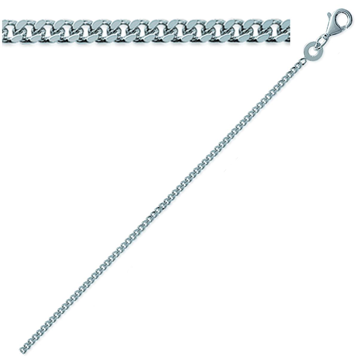 Chaine Argent \'Maille Gourmette\' argenté (rhodié) - 40 cm 17 mm - [Q9113]