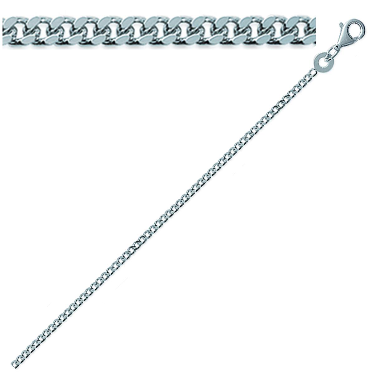 Chaine Argent \'Maille Gourmette\' argenté (rhodié) - 55 cm 17 mm - [Q9121]