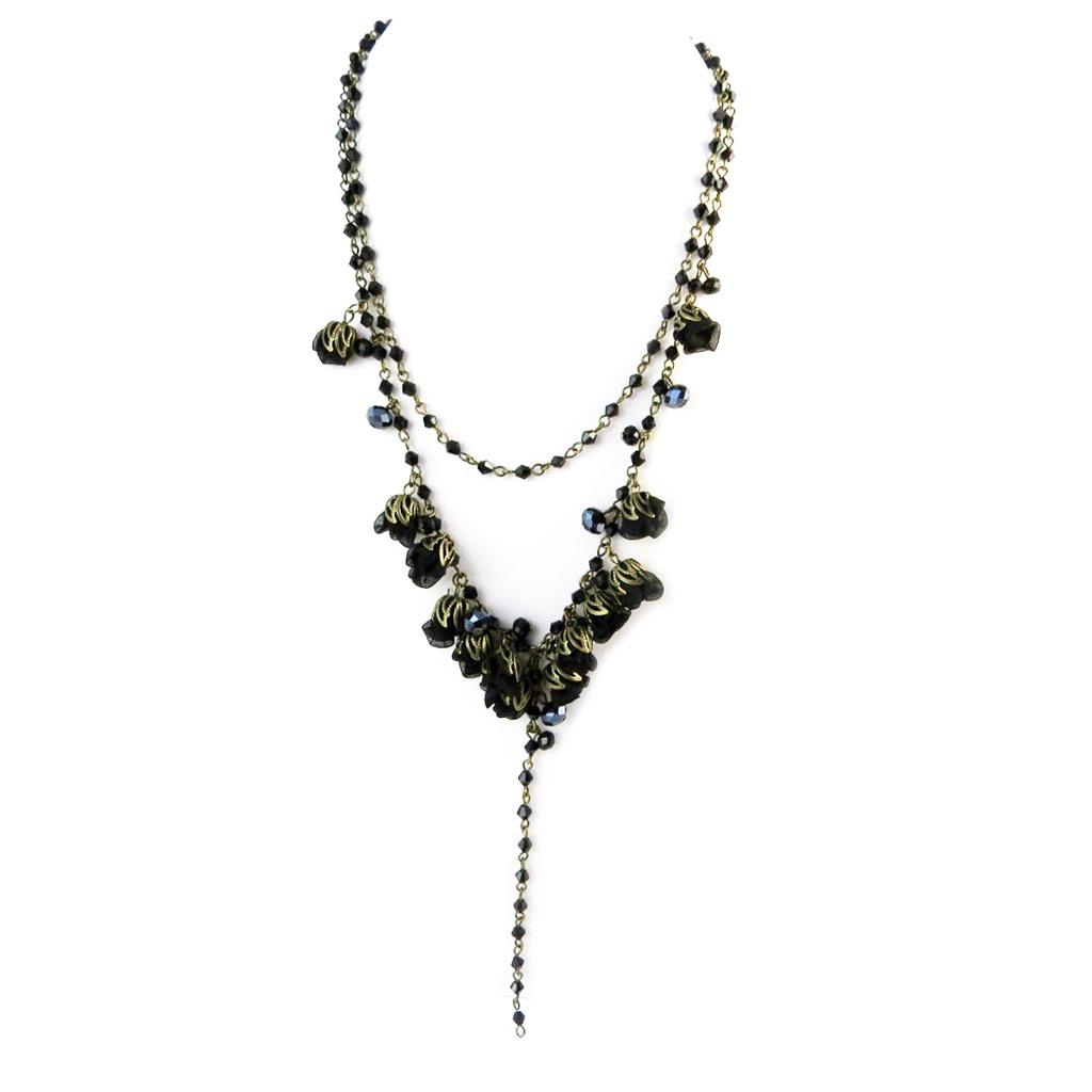Collier artisanal \'Les Antoinettes\' noir (fait main) - [P0790]