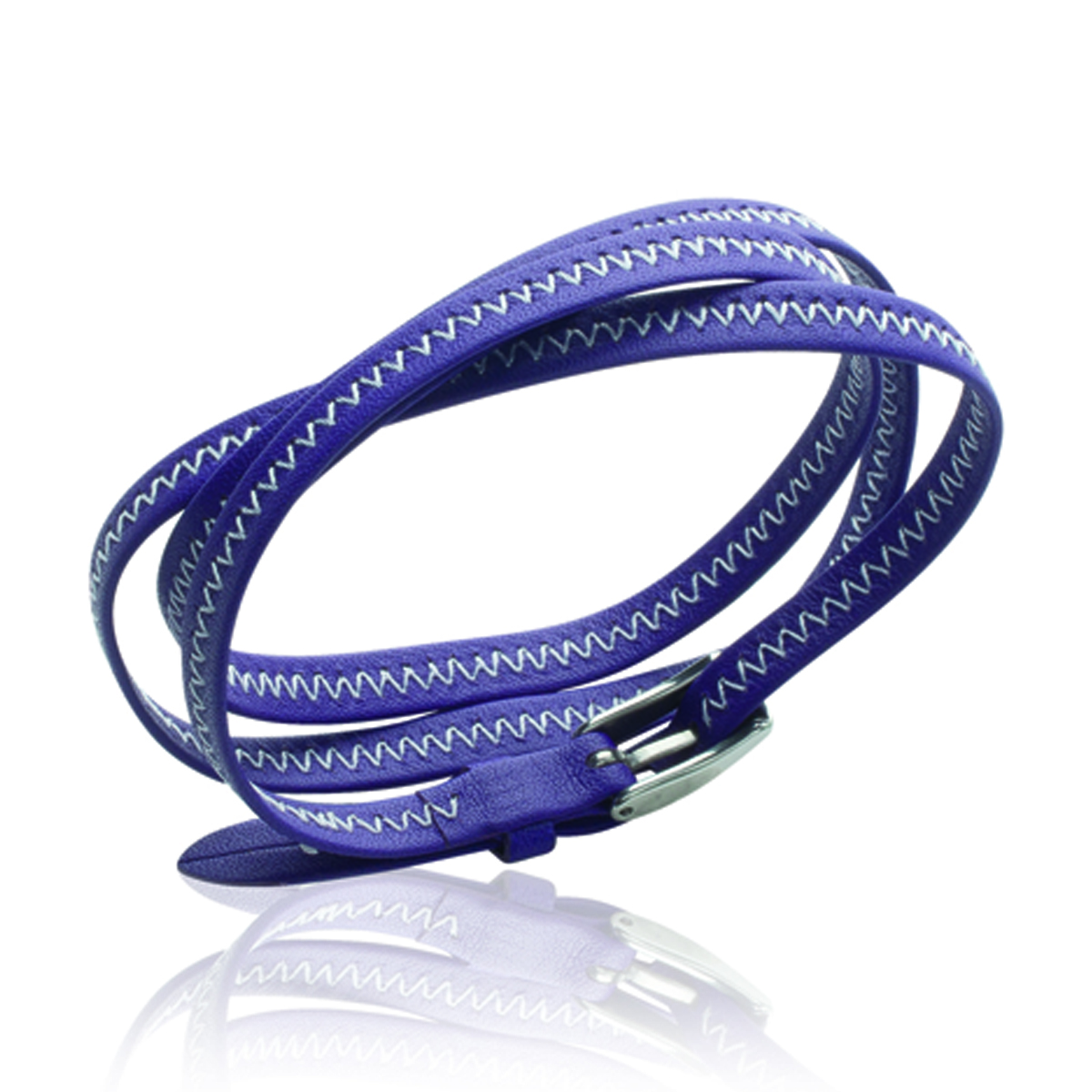 Bracelet acier \'Peaceful\' violet argenté - 6 mm - [J3100]