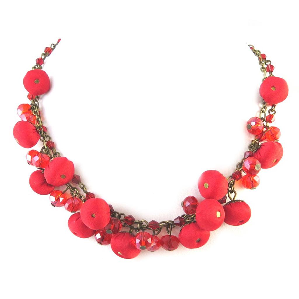 Collier artisanal \'Les Antoinettes\' rouge (fait main) - [P0792]