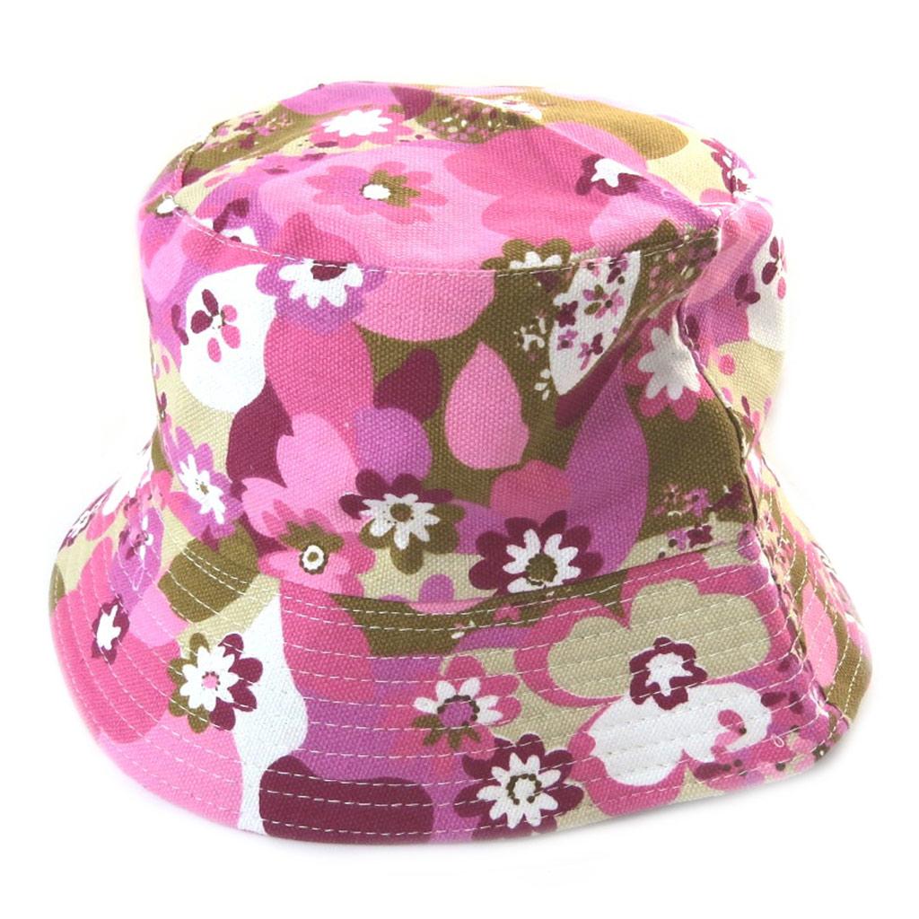 Chapeau Bob \'Flora\' rose multicolore - [N5878]