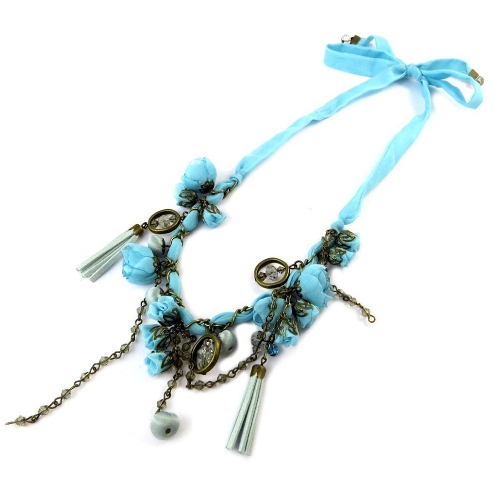 Collier artisanal \'Les Antoinettes\' lagon bleu (fait main) - [P0793]