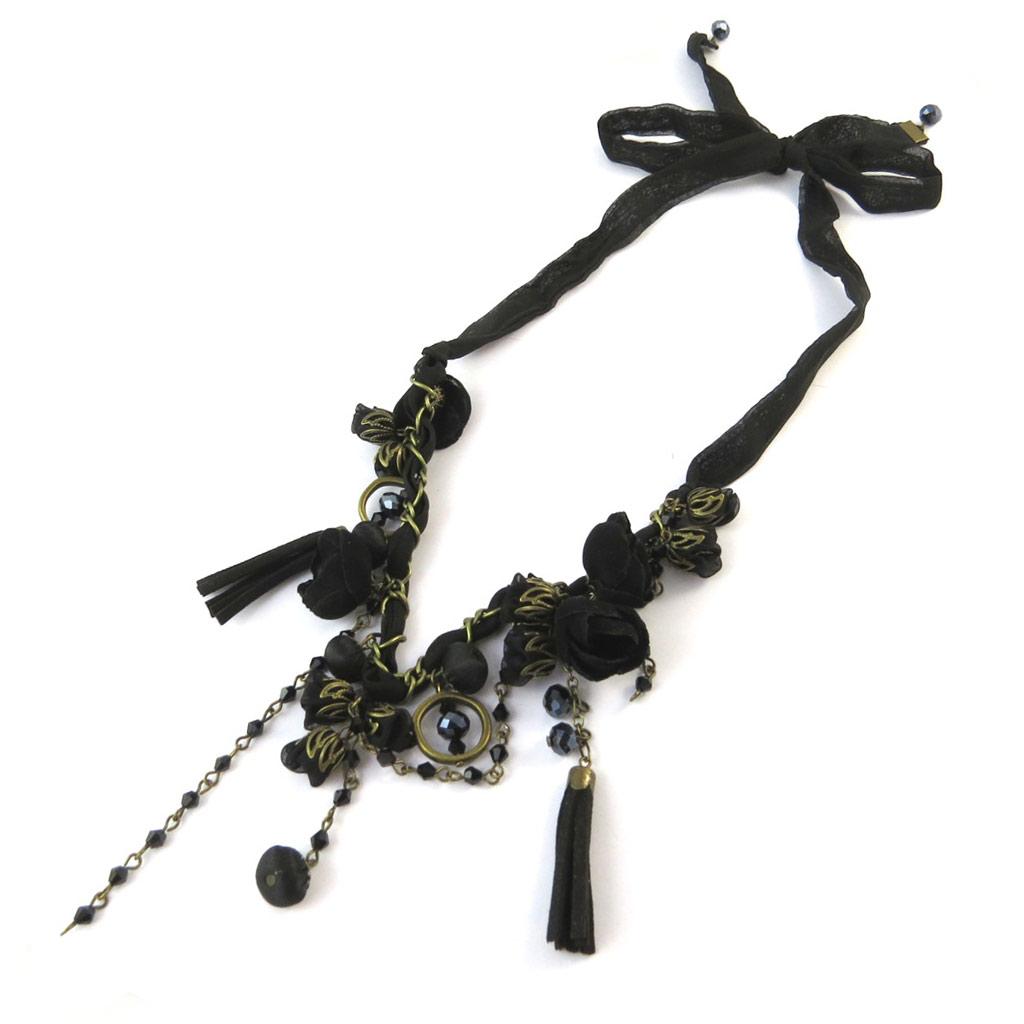 Collier artisanal \'Les Antoinettes\' noir (fait main) - [P0794]