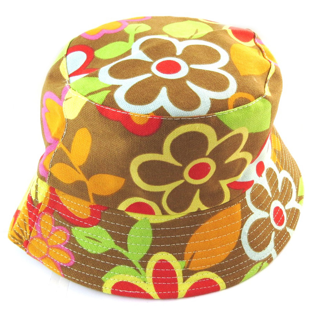 Chapeau Bob \'Flora\' marron multicolore - [N5880]