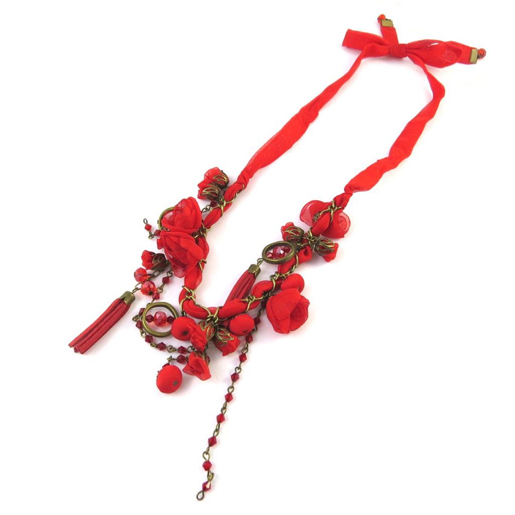 Collier artisanal \'Les Antoinettes\' rouge (fait main) - [P0795]