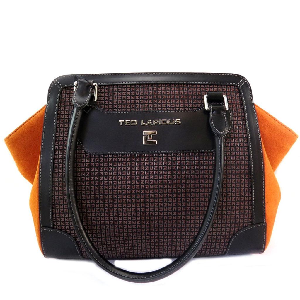 Sac \'Ted lapidus\' marron orange - 29x27x16 cm - [L9949]