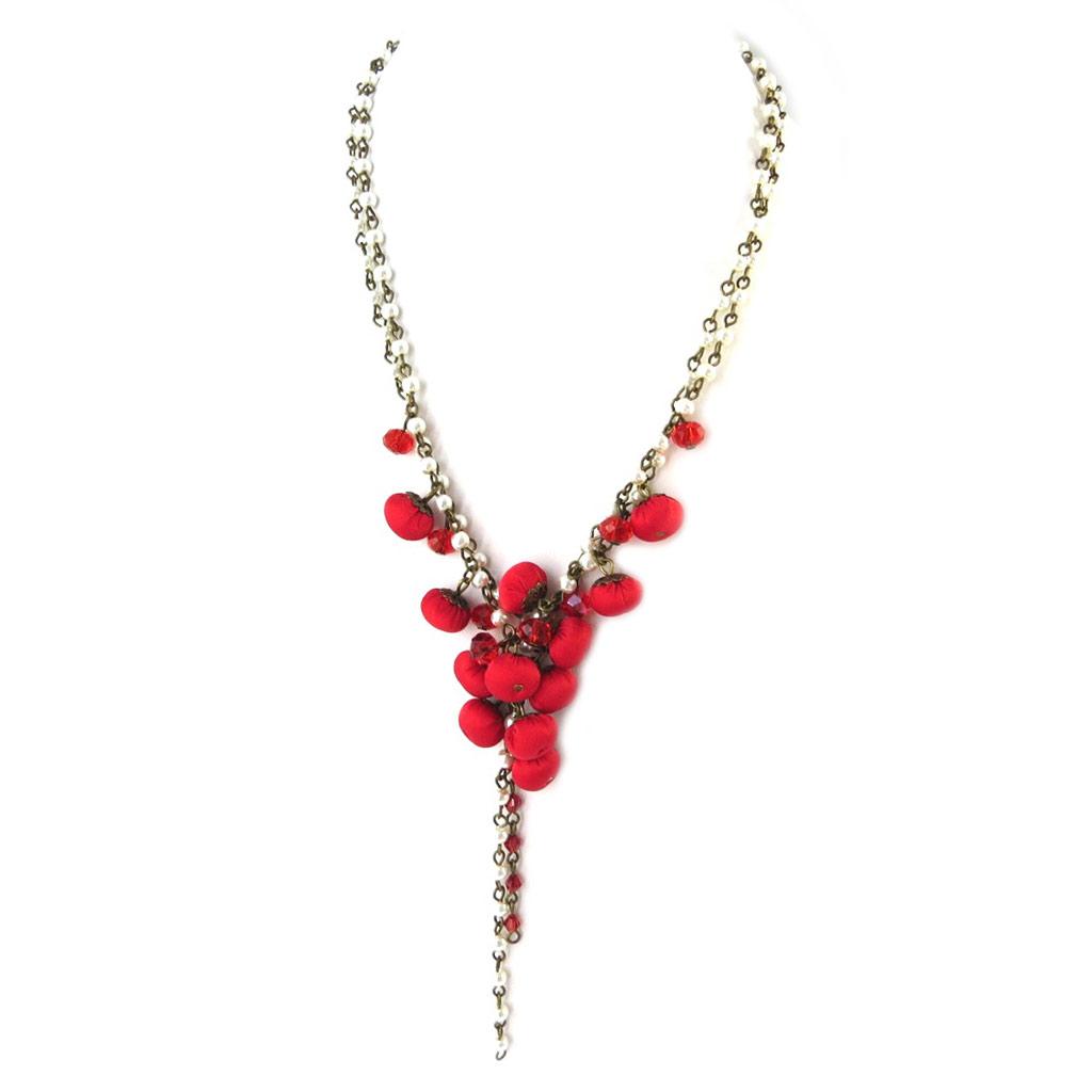 Collier artisanal \'Les Antoinettes\' rouge (fait main) - [P0796]