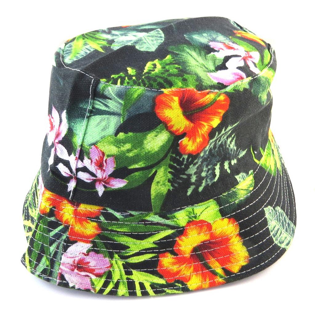 Chapeau Bob \'Flora\' vert multicolore - [N5883]