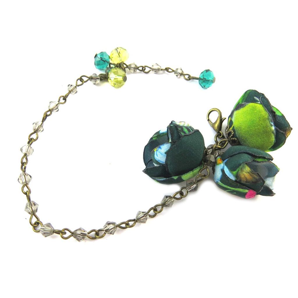 Bracelet artisanal \'Les Antoinettes\' vert émeraude (fait main) - [P0800]