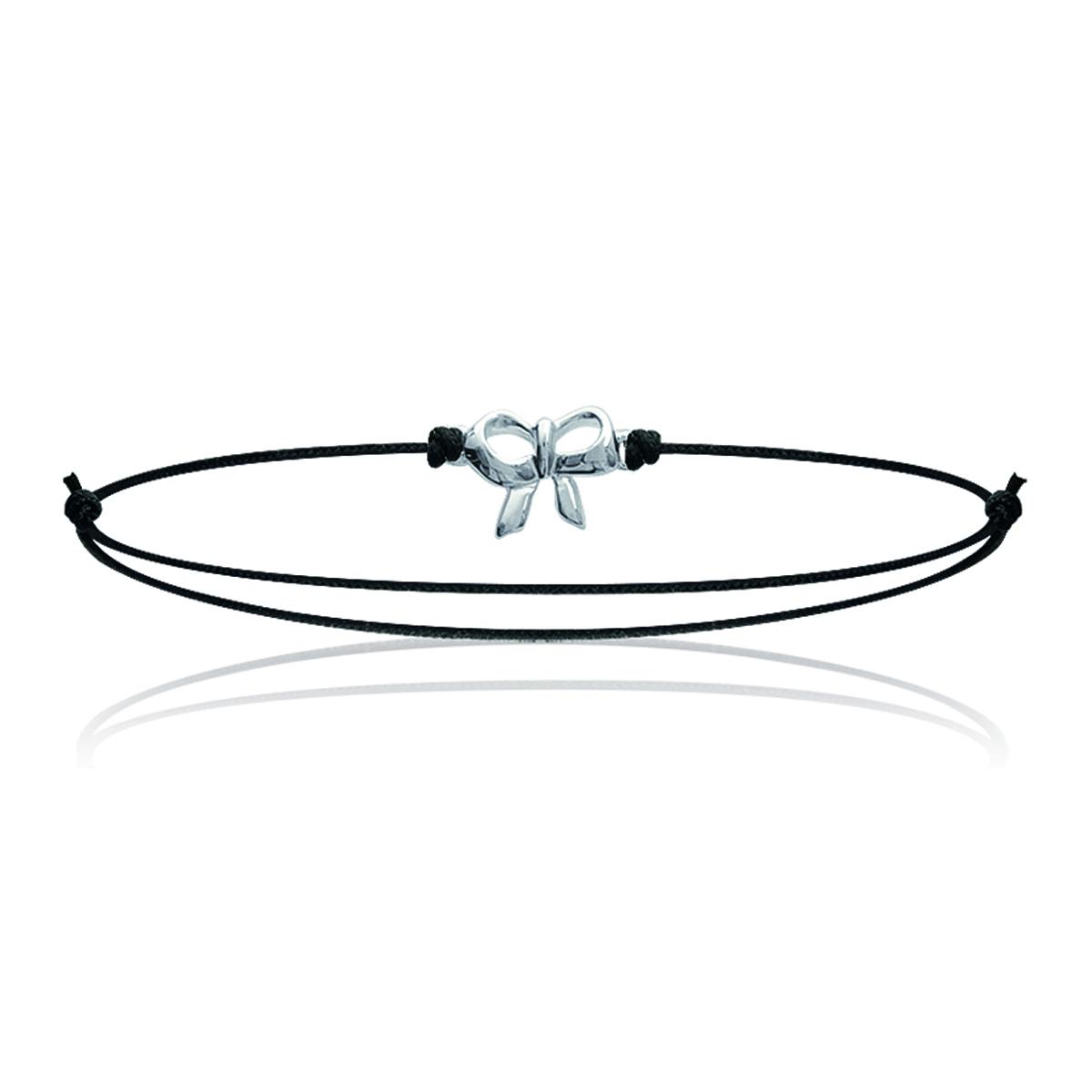 Bracelet Argent \'Noeud Romantique\' noir argenté - 10x8 mm - [M7276]