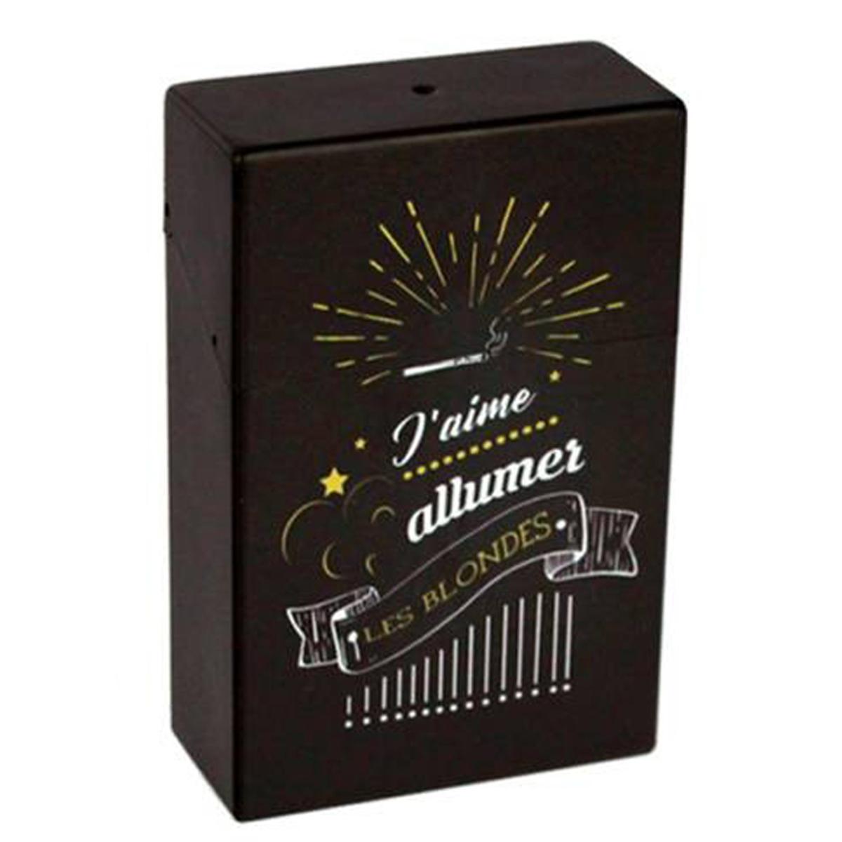 Etui à paquet de cigarettes \'Messages\' noir (J\'aime allumer les blondes) - 95x60x28 mm - [Q6720]