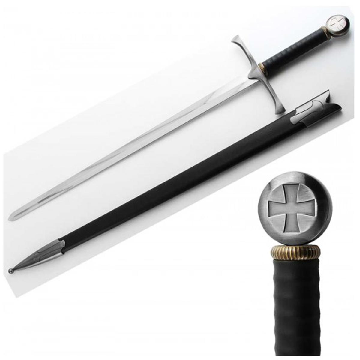 Reproduction \'Epée des croisades\' noir argenté - 100 cm - [Q6747]