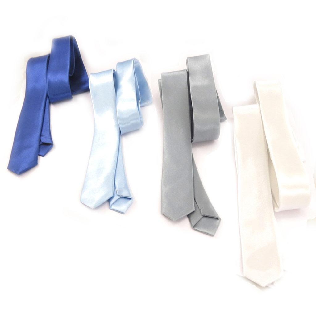 4 cravates \'Coloriage\' bleu gris blanc - [K8856]