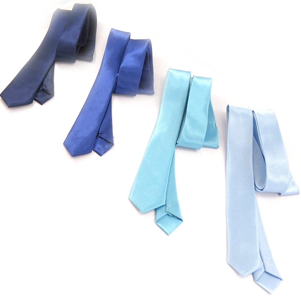 4 cravates \'Coloriage\' camaïeu bleu - [K8857]