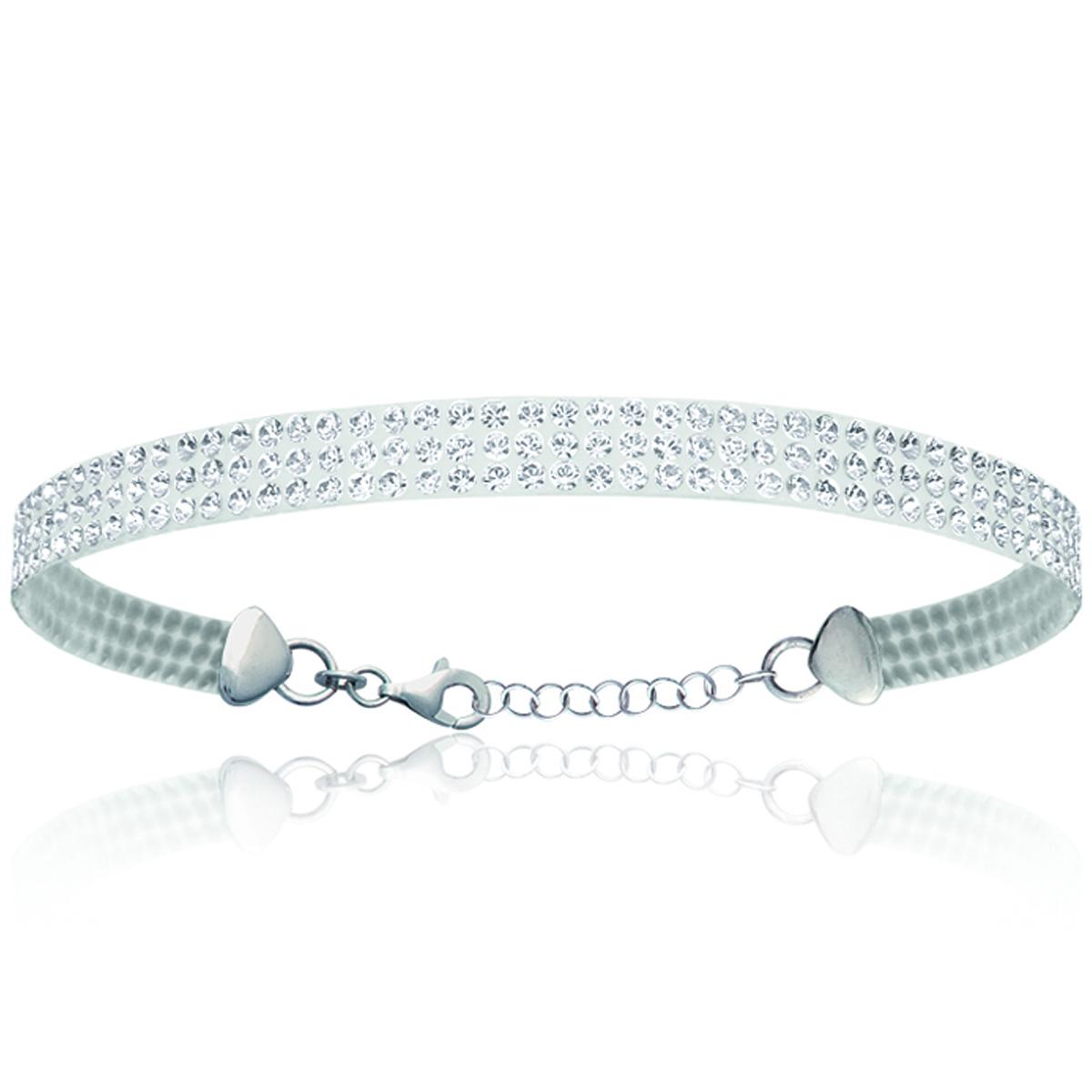 Bracelet Argent \'Sissi\' blanc cristal - 19 cm 6 mm - [M7325]