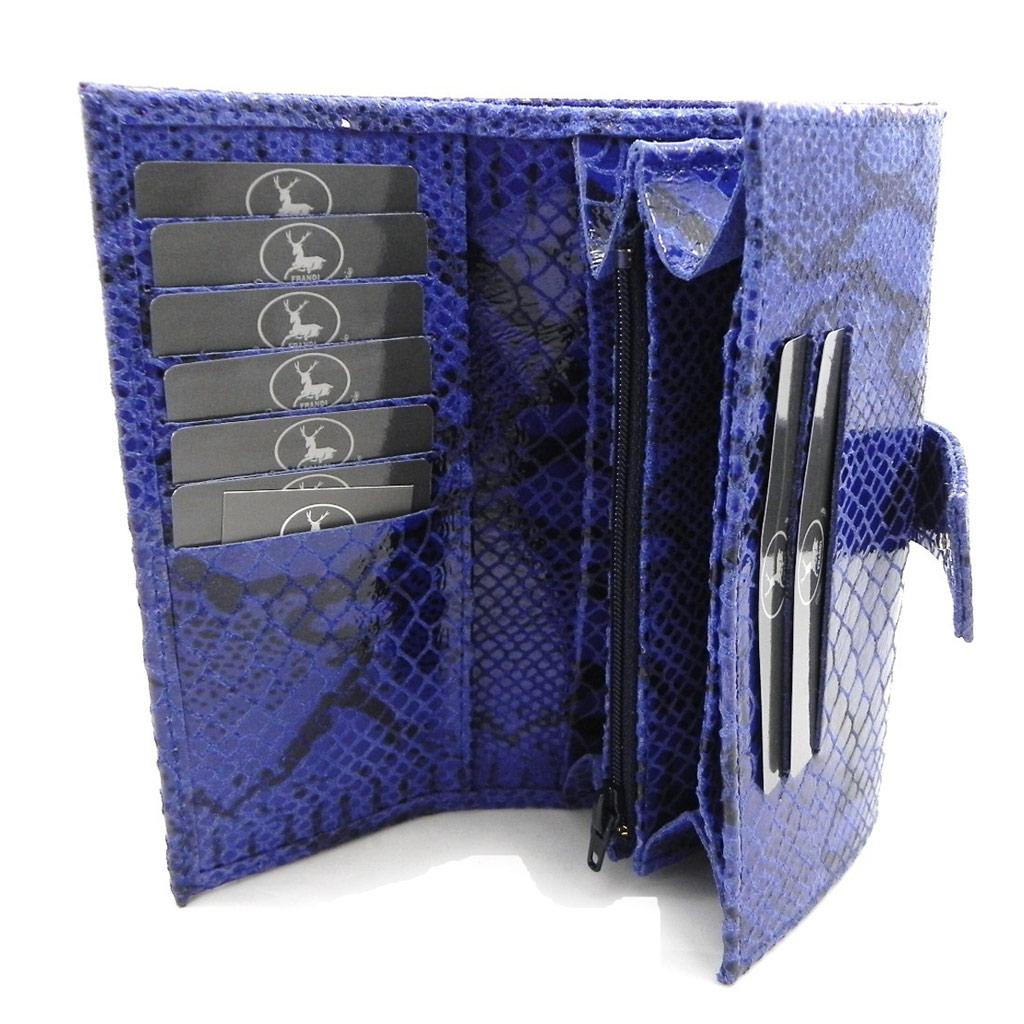 Grand porte-monnaie Cuir \'Frandi\' bleu (motif python) - [I3360]
