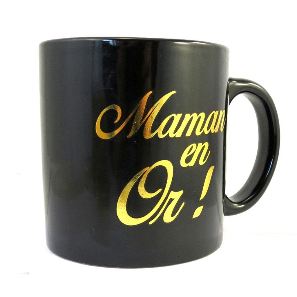 Grand mug tendresse \'Maman en Or !\' noir doré - [M5721]