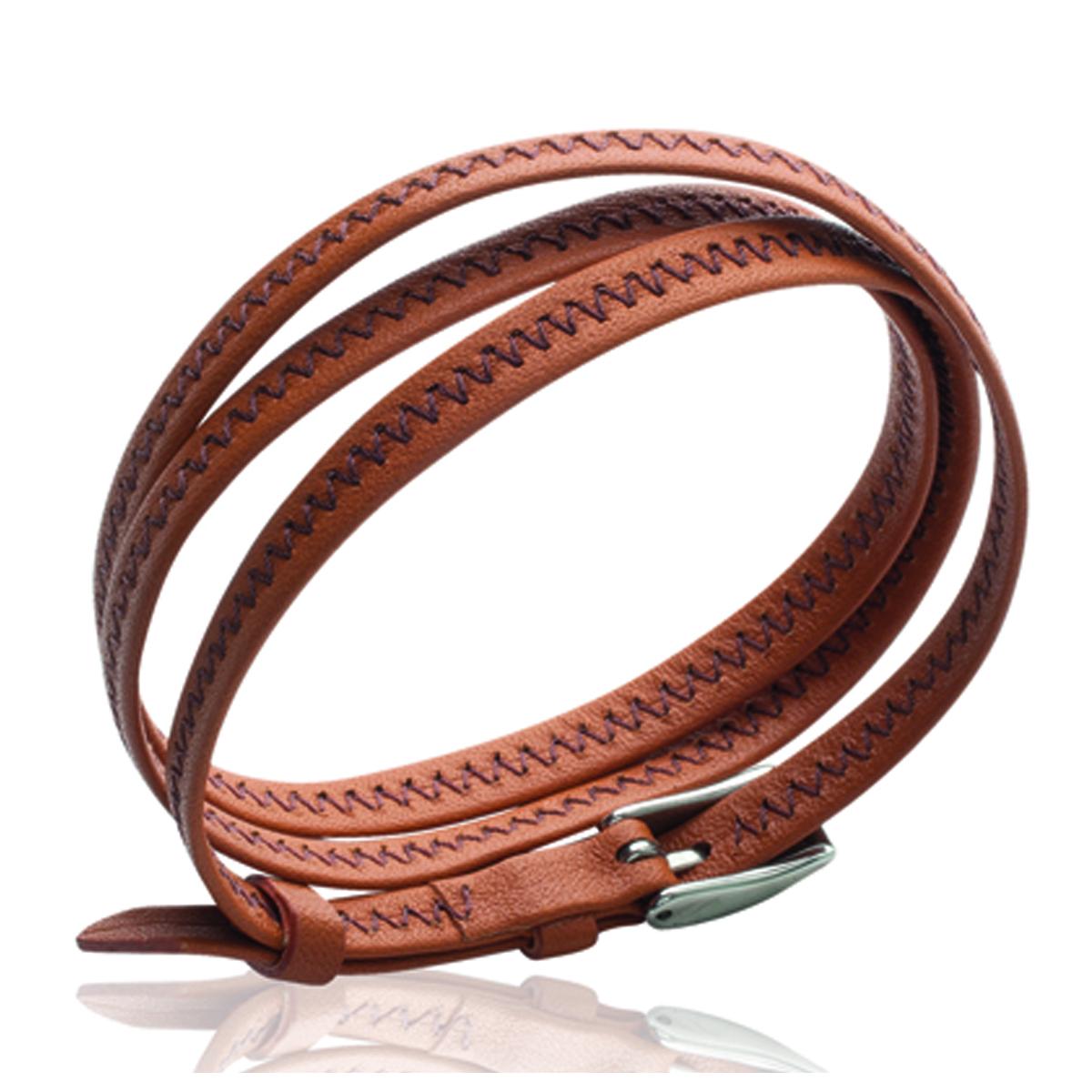 Bracelet acier \'Peaceful\' orange argenté - 6 mm - [J3102]