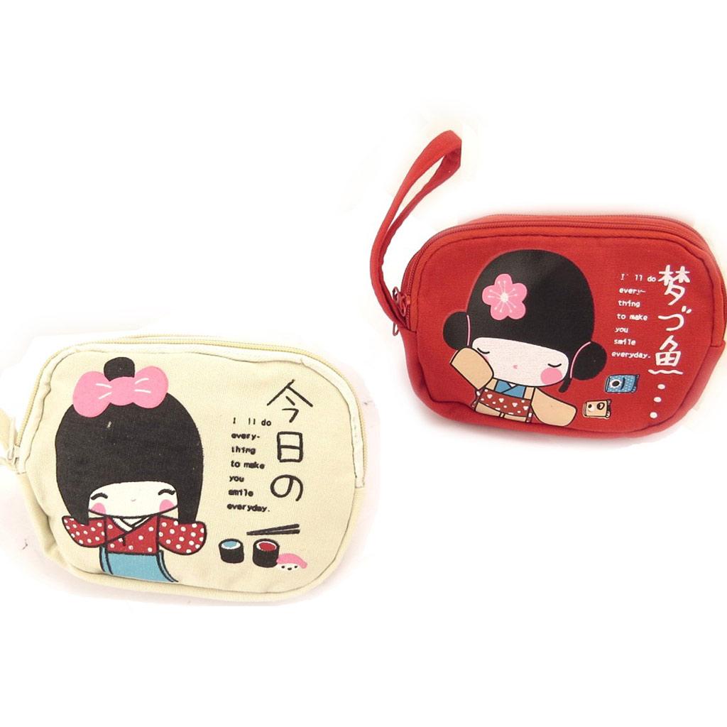 2 porte-monnaies \'Geisha\' beige rouge - [K8974]