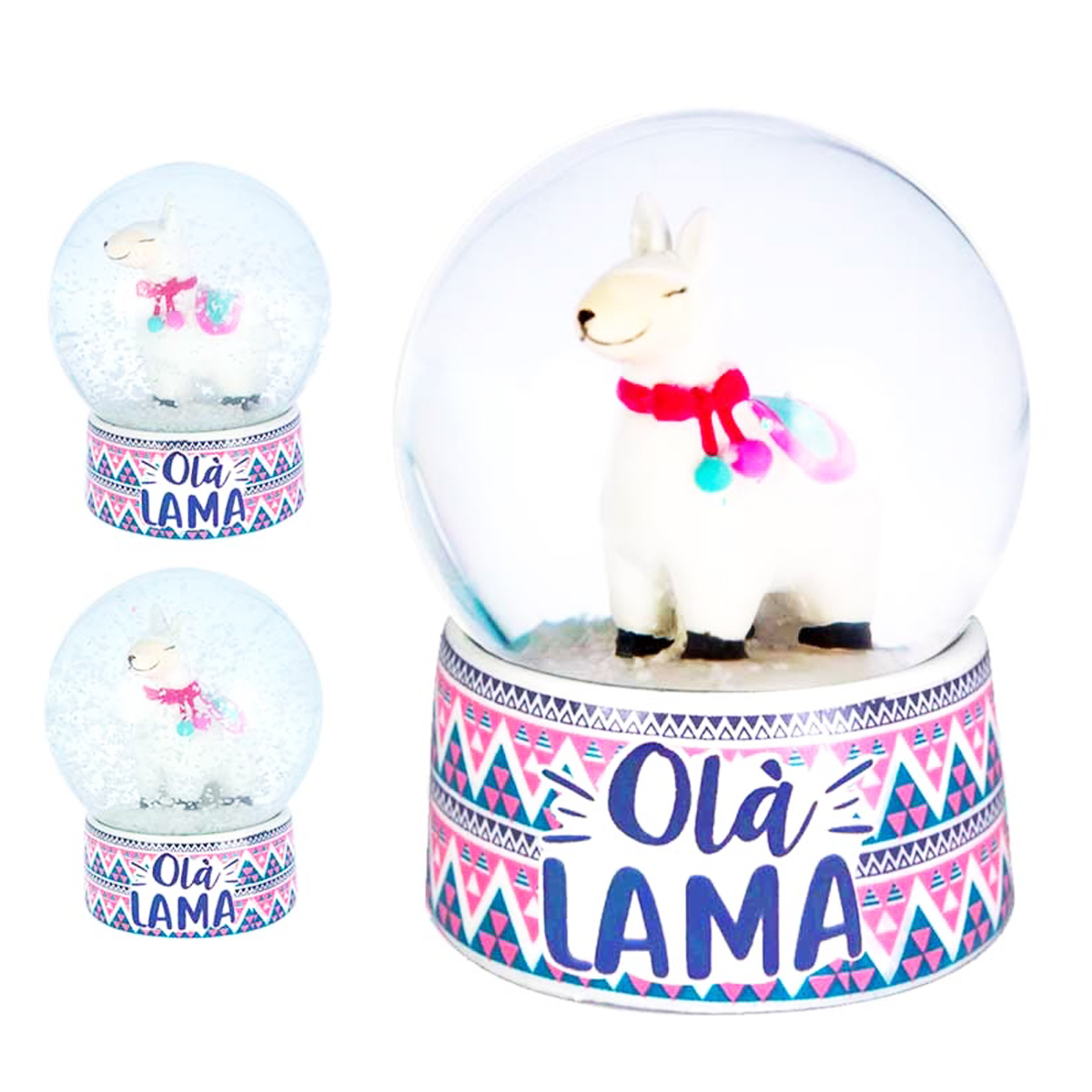Boule de neige \'Lama Mania\' blanc rose (Olà Lama) - 85x65 cm - [Q0841]
