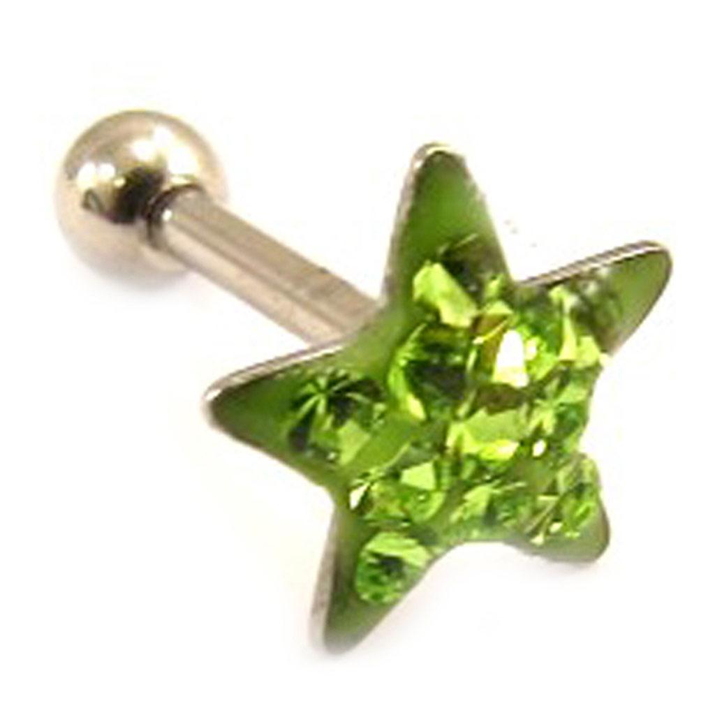 Micro barbell \'Etoile\' vert (tragus) - [L4476]