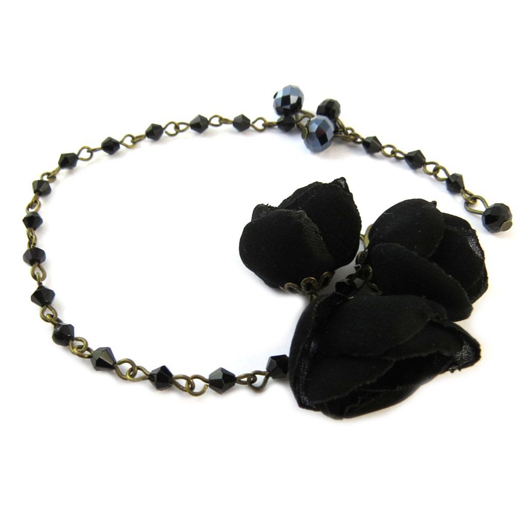 Bracelet artisanal \'Les Antoinettes\' noir (fait main) - [P0804]