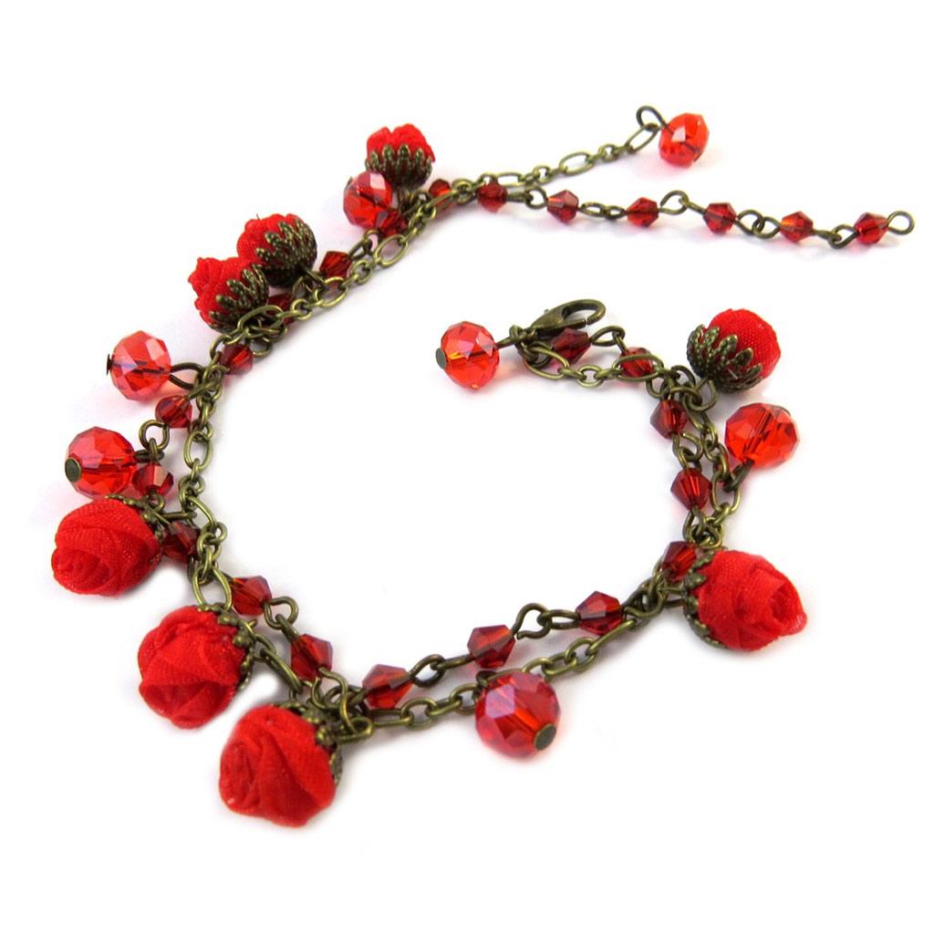 Bracelet artisanal \'Les Antoinettes\' rouge (fait main) - [P0806]