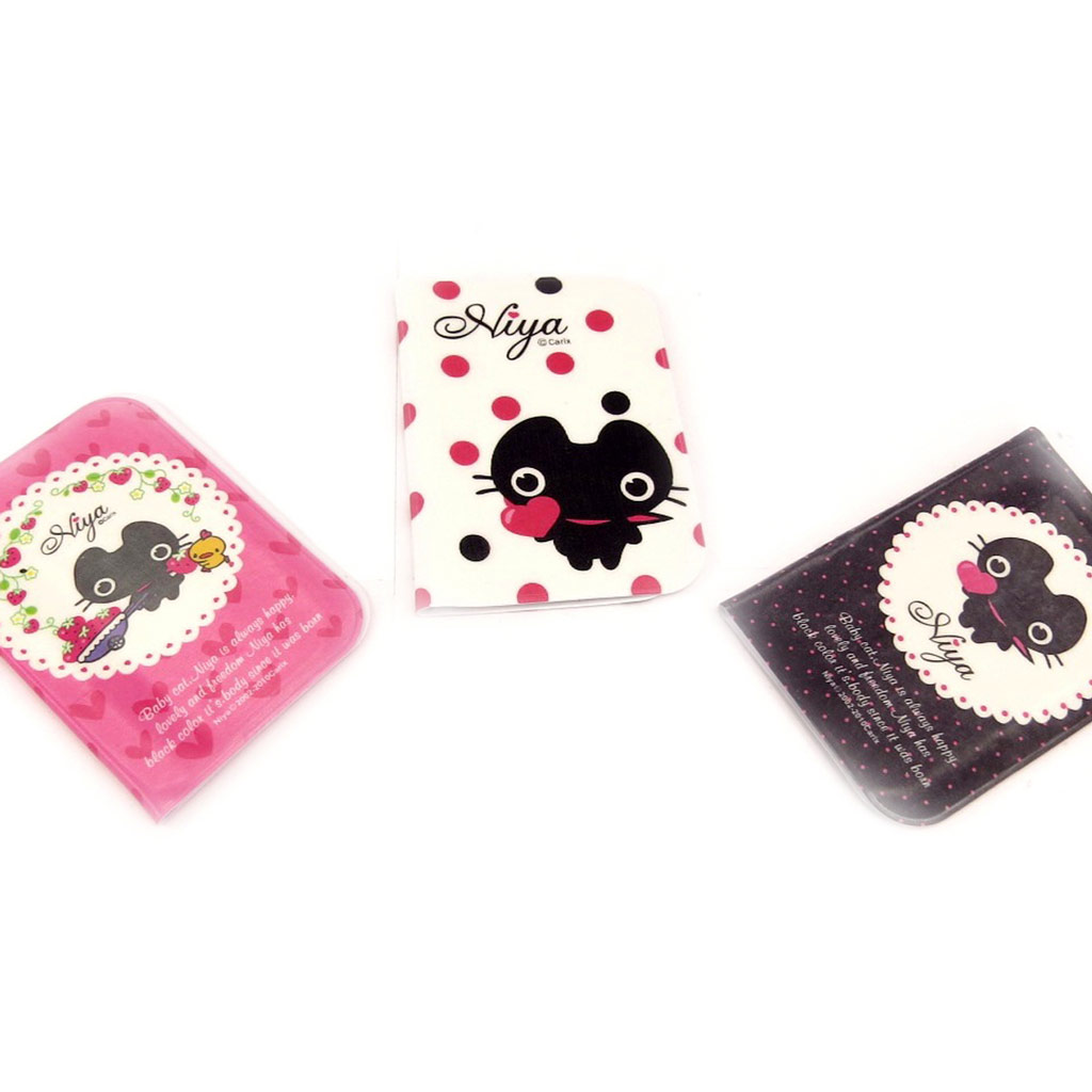 3 porte-cartes \'Chat Noir\' rose blanc noir - [K8976]