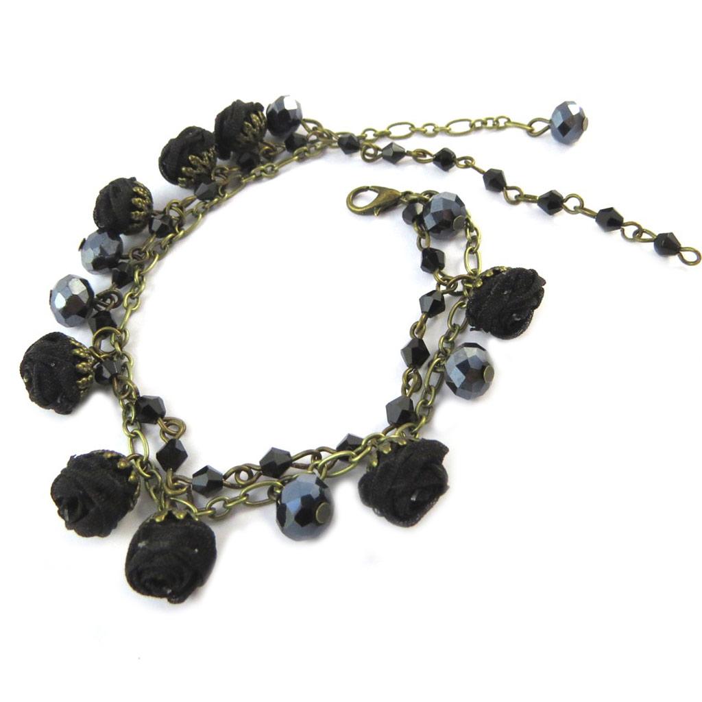 Bracelet artisanal \'Les Antoinettes\' noir (fait main) - [P0809]