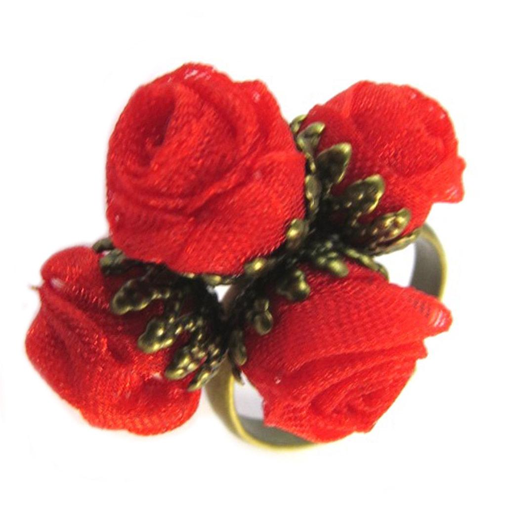 Bague artisanale \'Les Antoinettes\' rouge (fait main) - [P0813]
