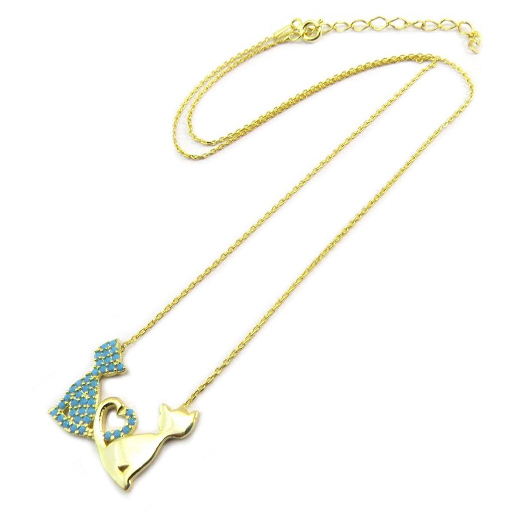 Collier Argent \'Chats\' turquoise doré (love) - [P2436]