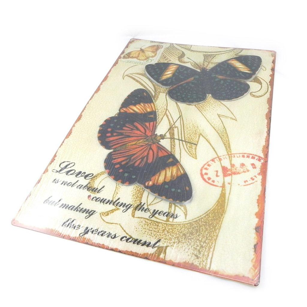 Déco murale \'Papillons Muraux\' marron beige (métal) - [I3420]