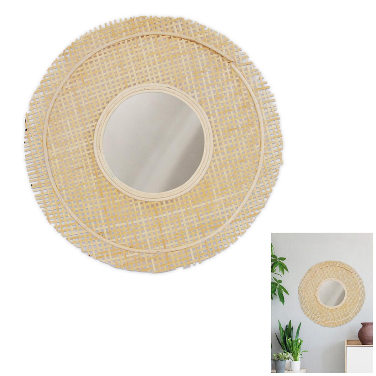 Miroir cannage \'Zen\' beige - 49 cm - [R2358]