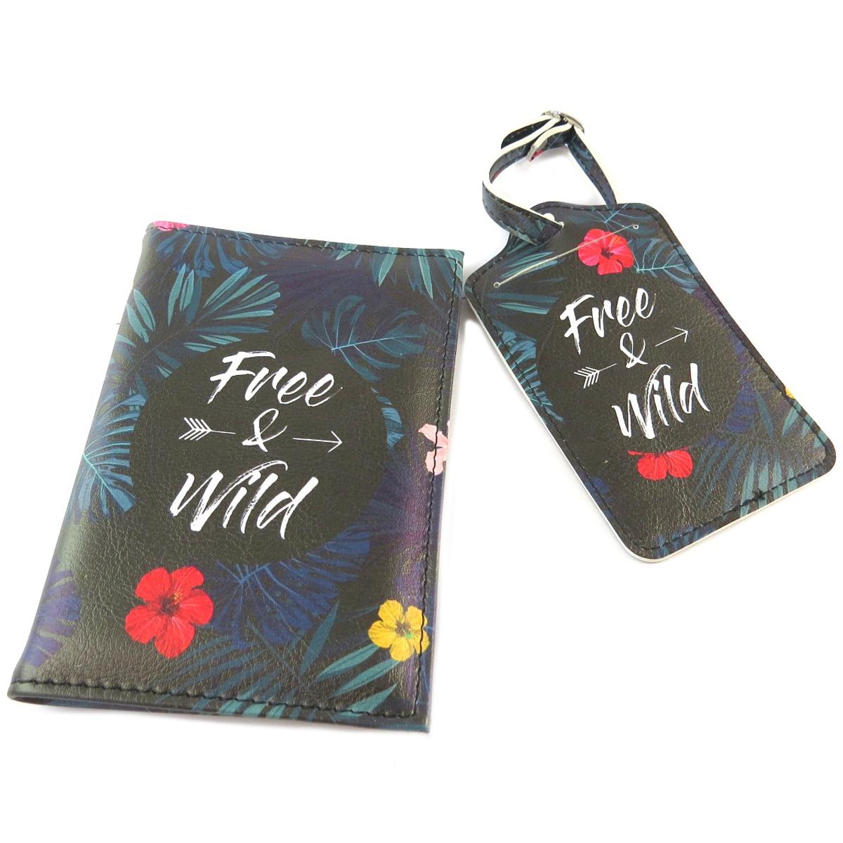 Coffret voyage  (étui passeport, étiquette valise) \'Messages\' noir multicolore (Free & Wild) - [Q0846]