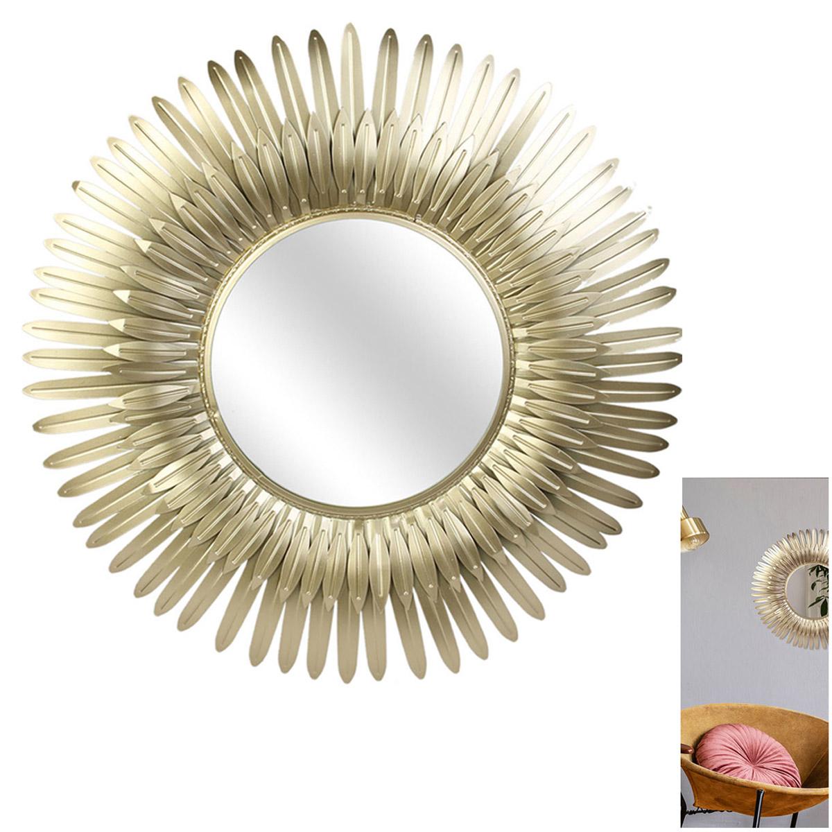 Miroir métal \'Soleil\' doré - 53 cm (plumes) - [R2360]