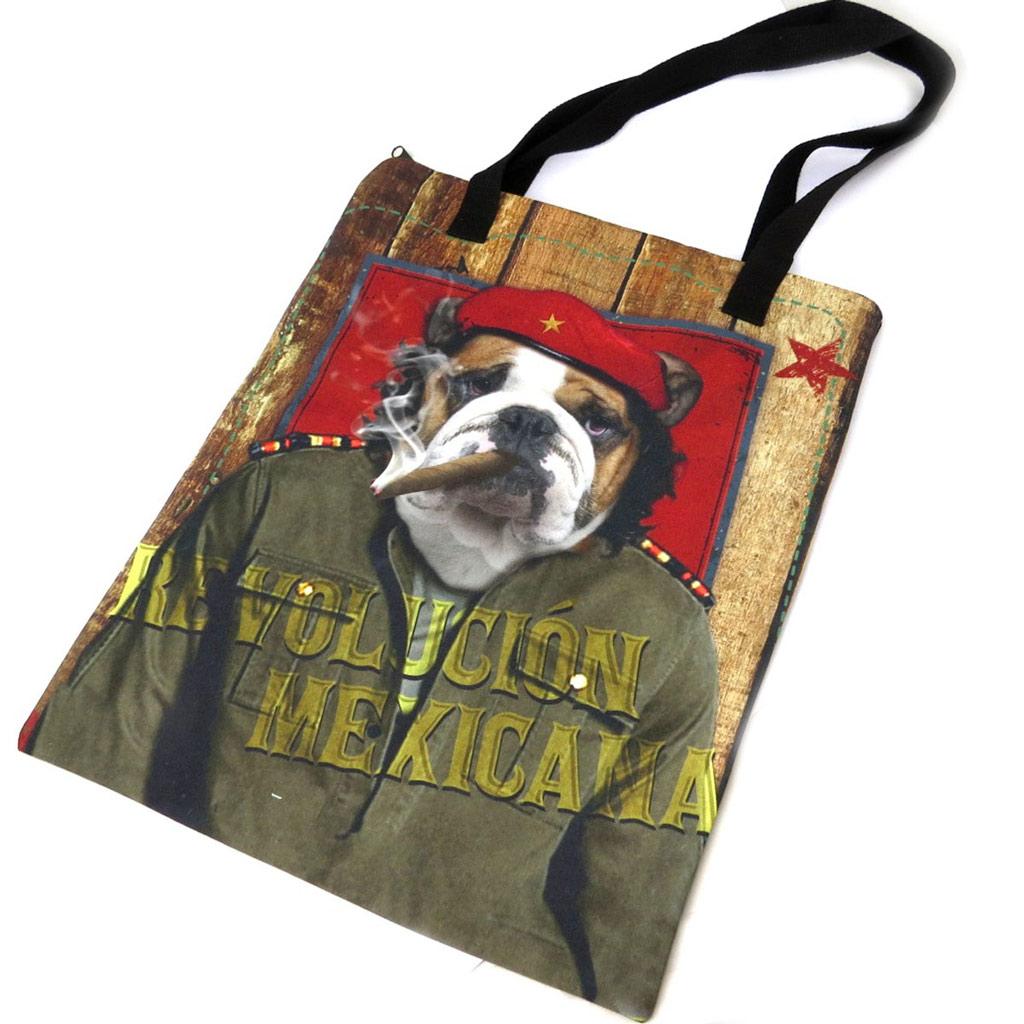Sac shopping \'Che Guevara relooké\' marron vert - 43x34 cm - [N8568]