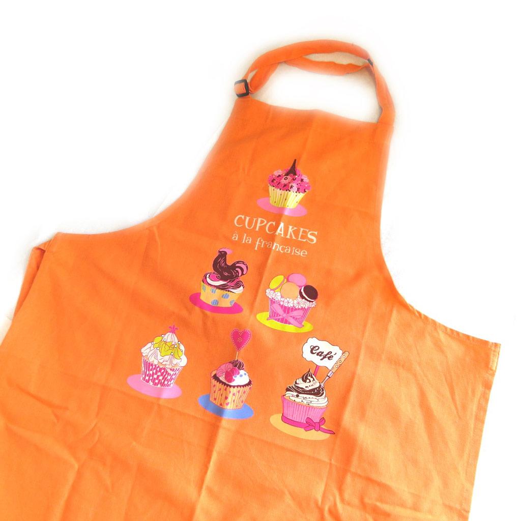 Tablier créateur \'Cupcakes à la Française\' orange - [M5763]