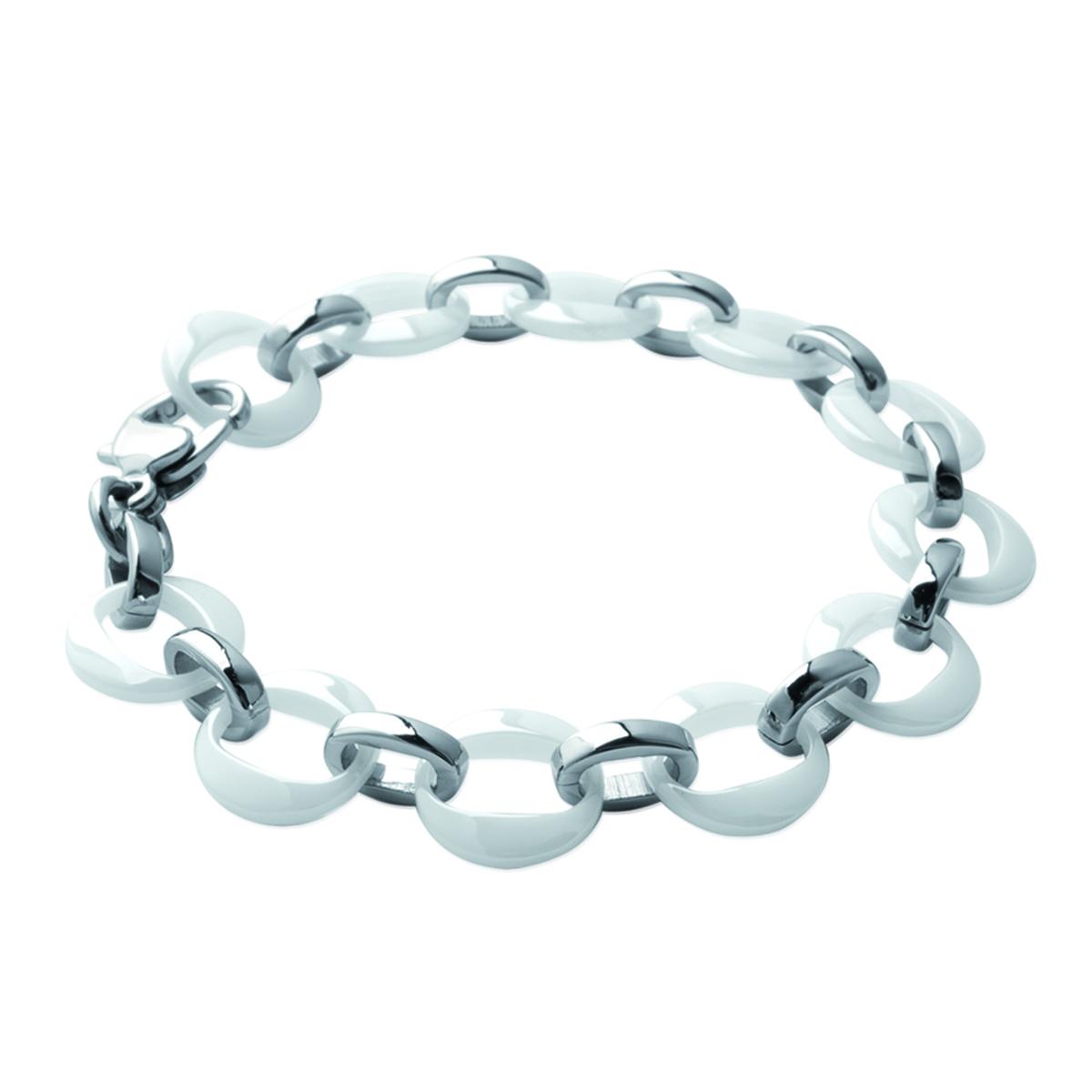 Bracelet acier \'Chorégraphie\' blanc argenté (céramique) - 12 mm - [J3123]