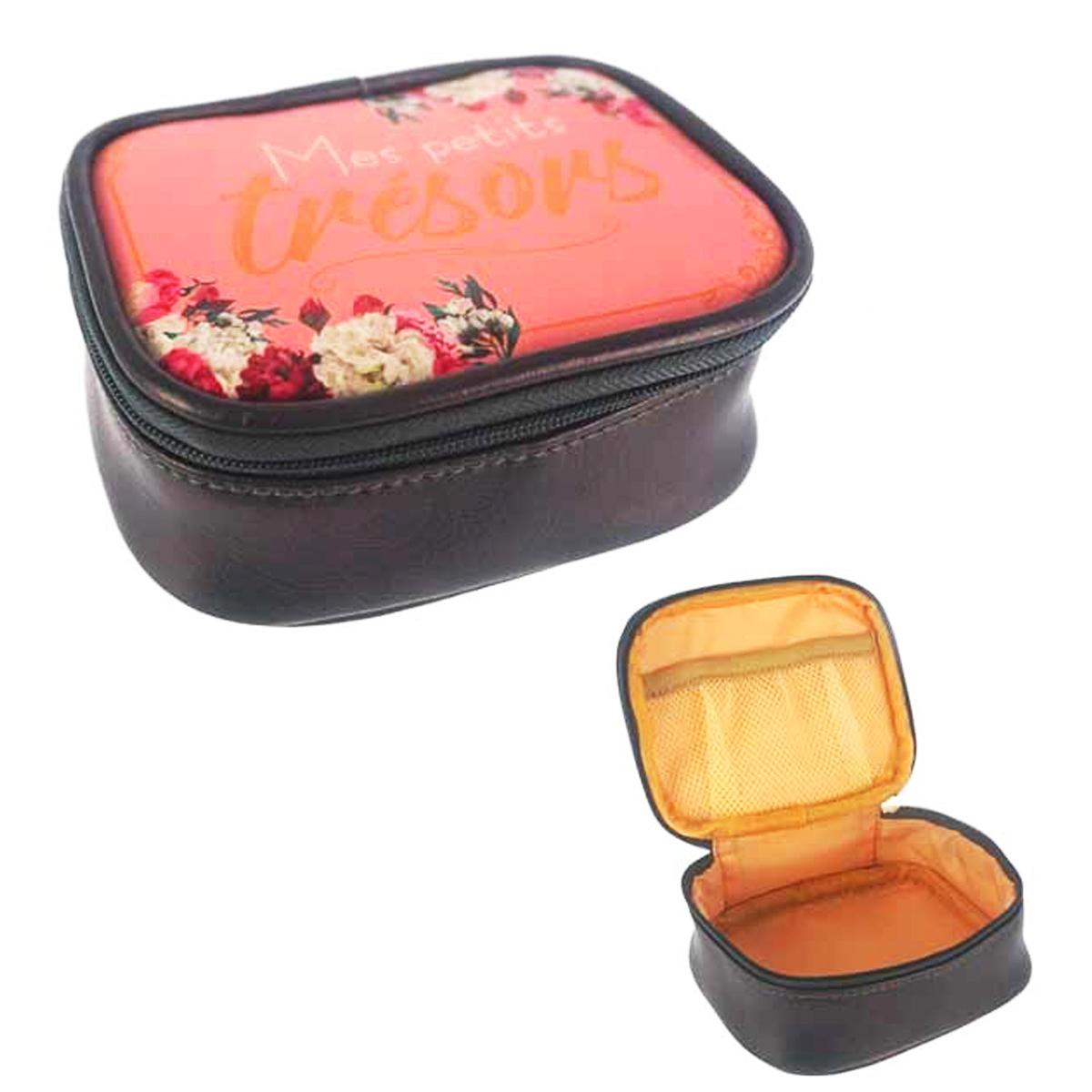 Petite boite à bijoux de voyage \'Messages\' noir rose (Mes petits Trésors) - 115x95x5 cm - [Q0855]