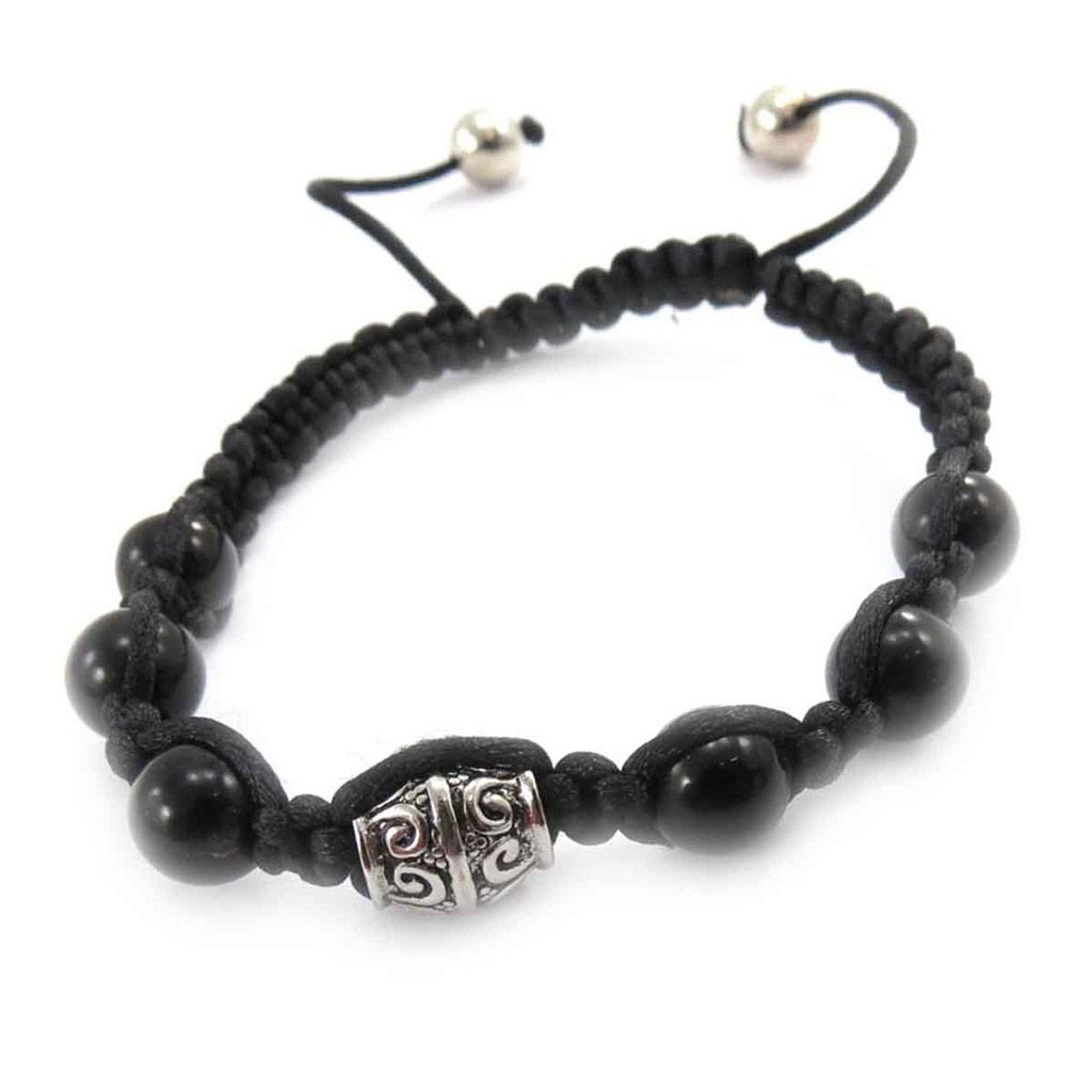 Bracelet ethnique \'Shambhala\' noir  - [J8534]