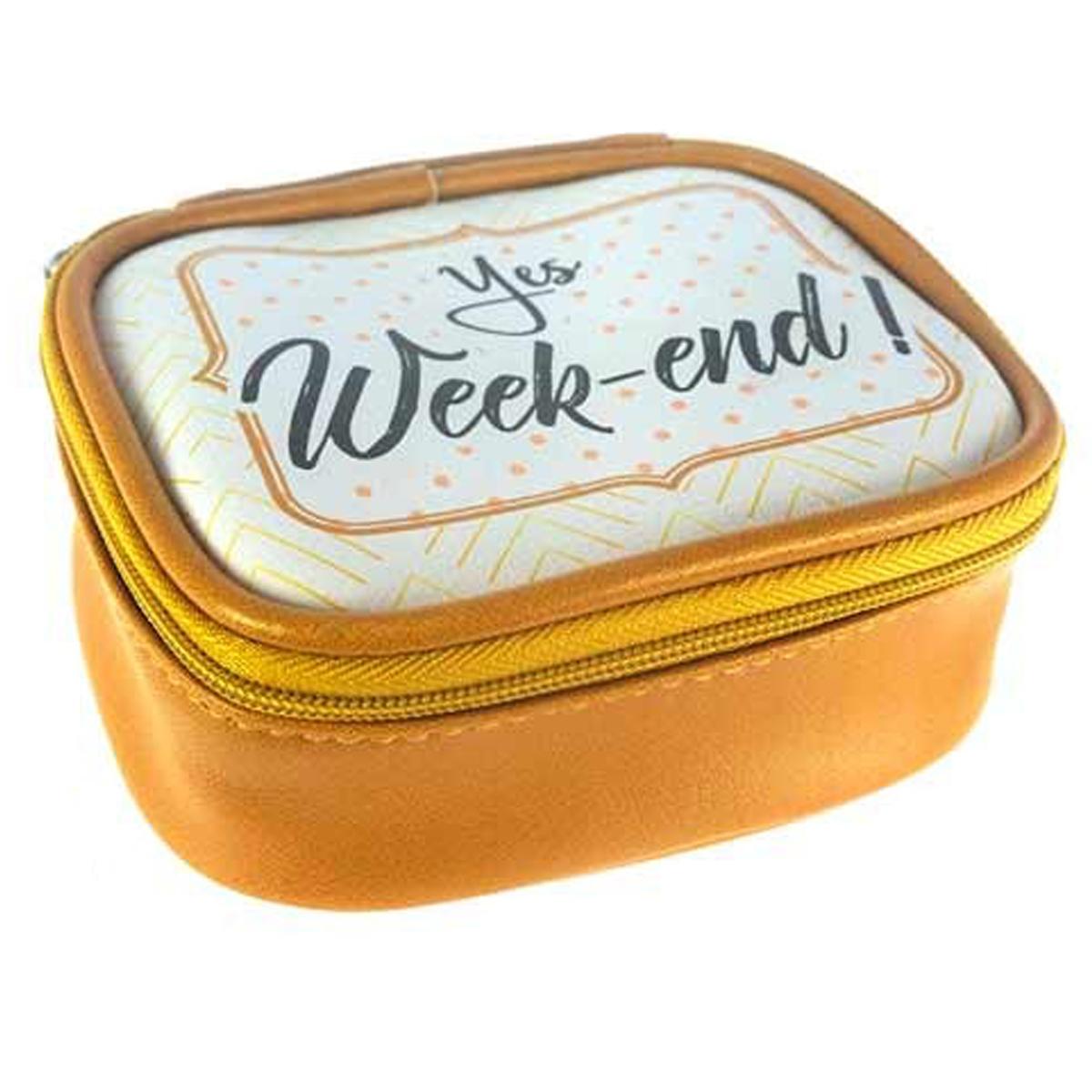 Petite boite à bijoux de voyage \'Messages\' doré (Yes week-end !) - 115x95x5 cm - [Q0856]