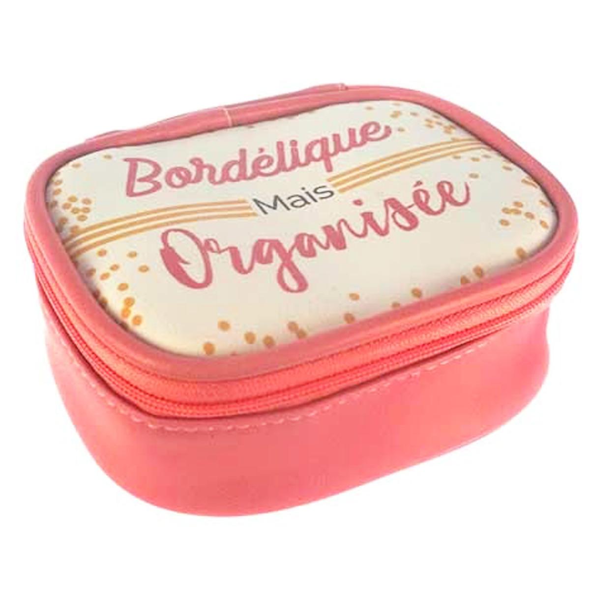 Petite boite à bijoux de voyage \'Messages\' rose (Bordélique mais Organisée) - 115x95x5 cm - [Q0858]